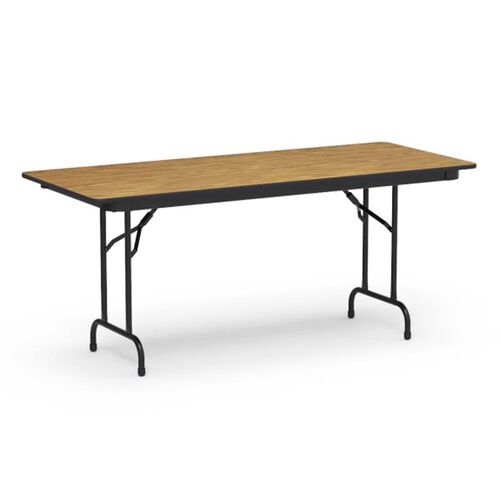 Our 6000 Series Traditional Rectangular Folding Table with Medium Oak Top and Black Frame - 30
