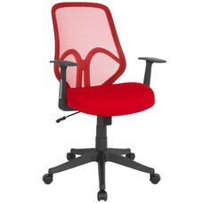 Salerno Series High Back Red Mesh Chair with Arms