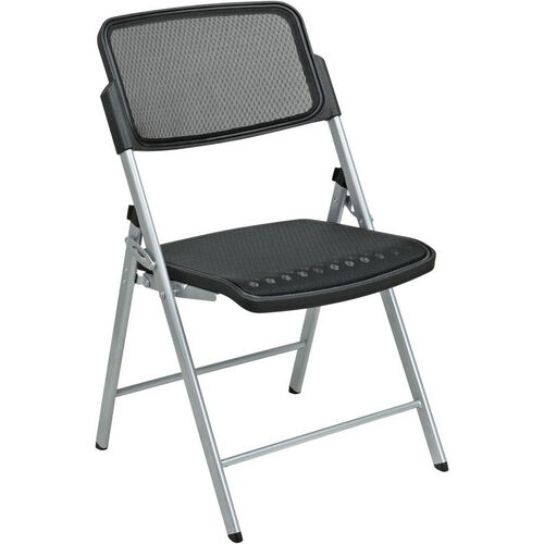 Pro-Line II Deluxe ProGrid® Mesh Seat and Back Folding Chair with 400 lb Weight Capacity and Silver Frame - Set of 2 - Black