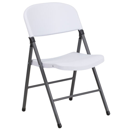Our HERCULES Series 330 lb. Capacity Granite White Plastic Folding Chair with Charcoal Frame is on sale now.