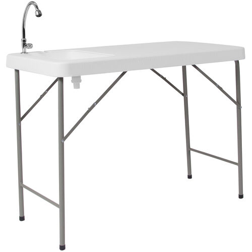 Our 4-Foot Granite White Plastic Folding Table with Sink is on sale now.