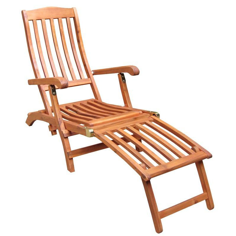 Outdoor Oil Treated Asian Hardwood Folding Steamer Chair With Brass Plated  Hardware   Oak Finish