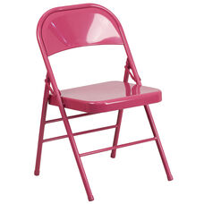 HERCULES COLORBURST Series Shockingly Fuchsia Triple Braced & Double-Hinged Metal Folding Chair
