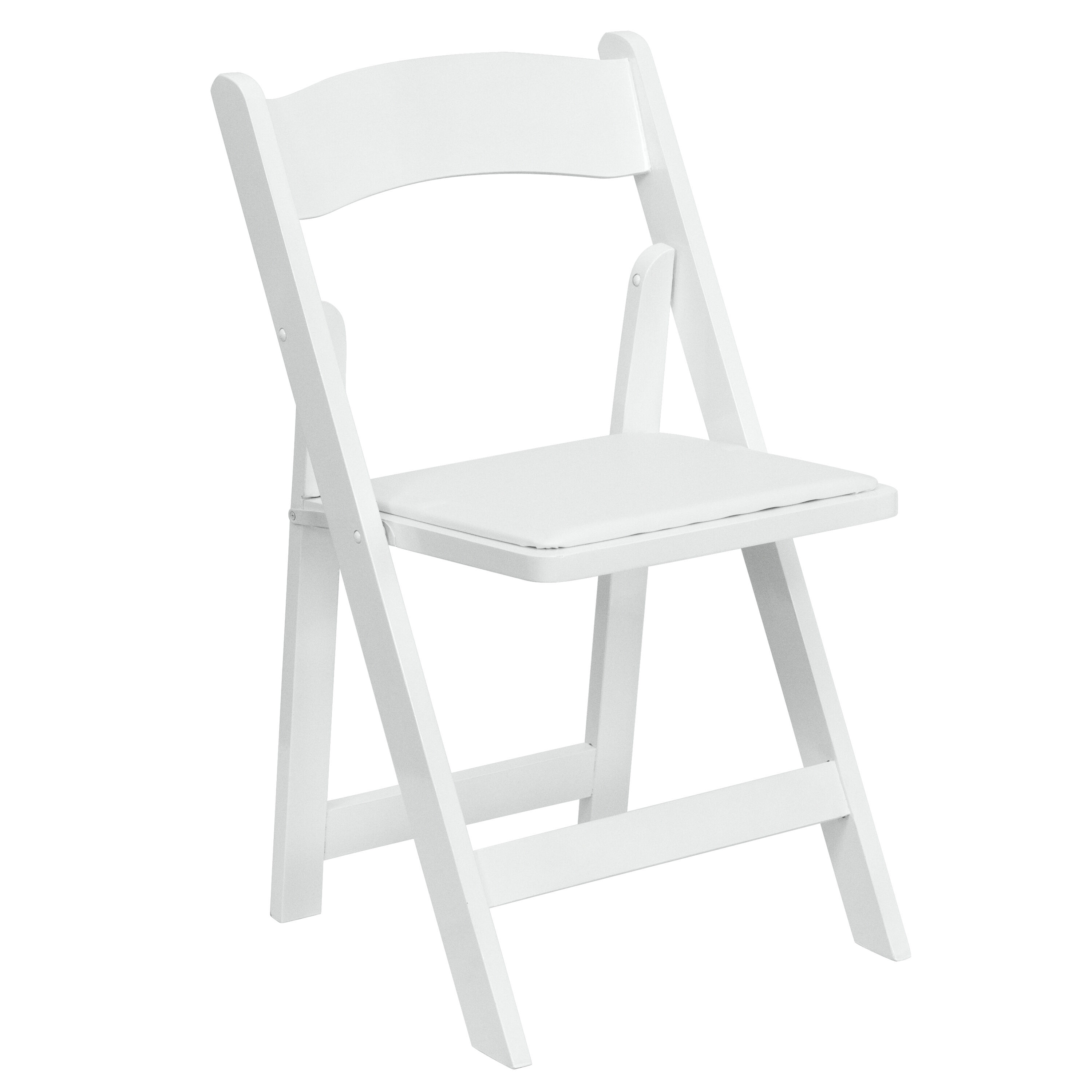 Genial HERCULES Series White Wood Folding Chair With Vinyl Padded Seat