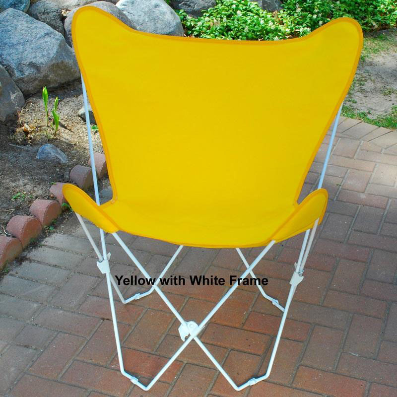 Folding Butterfly Chair With White Steel Frame And Cotton Cover   Sunny Gold