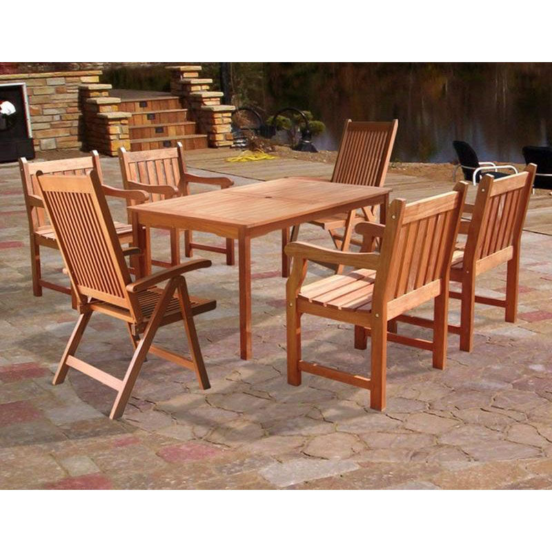 ... Our Malibu Outdoor 7 Piece Rectangular Table Wood Patio Dining Set With  4 Armchairs And 2 ...