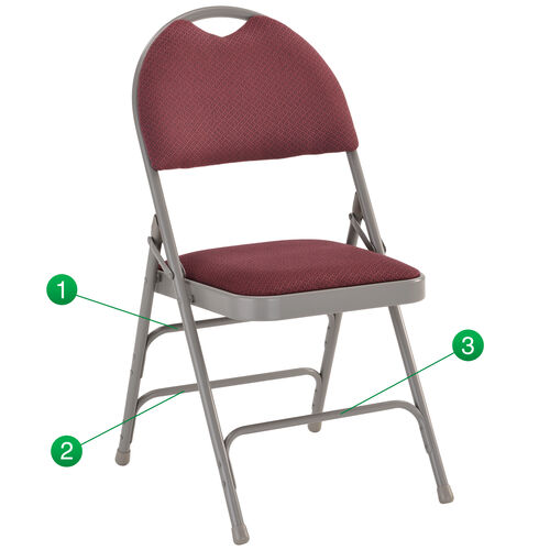 Our HERCULES Series Ultra-Premium Triple Braced Burgundy Fabric Metal Folding Chair with Easy-Carry Handle is on sale now.