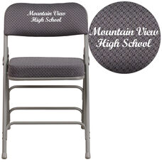 Embroidered HERCULES Series Premium Curved Triple Braced & Double-Hinged Gray Fabric Metal Folding Chair