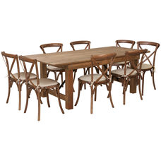 HERCULES Series 7' x 40'' Antique Rustic Folding Farm Table Set with 8 Cross Back Chairs and Cushions