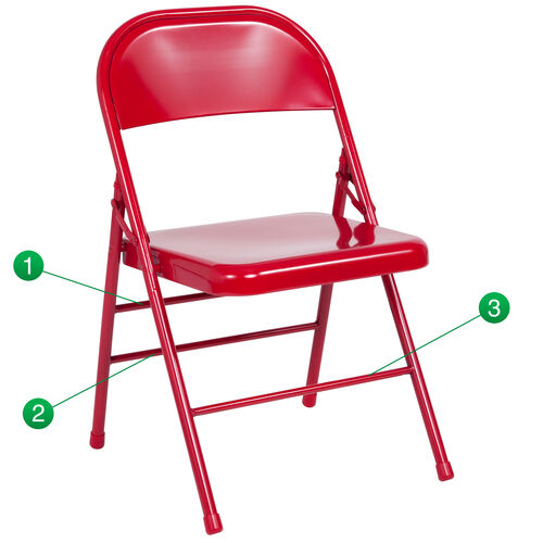 Our HERCULES Series Triple Braced & Double-Hinged Red Metal Folding Chair is on sale now.