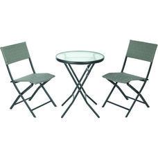 OSP Designs FCD332 3 Piece Metal Folding Table Set - Grey Weave