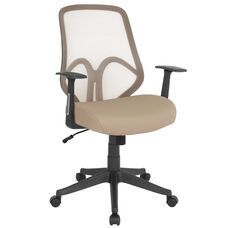 Salerno Series High Back Light Brown Mesh Chair with Arms
