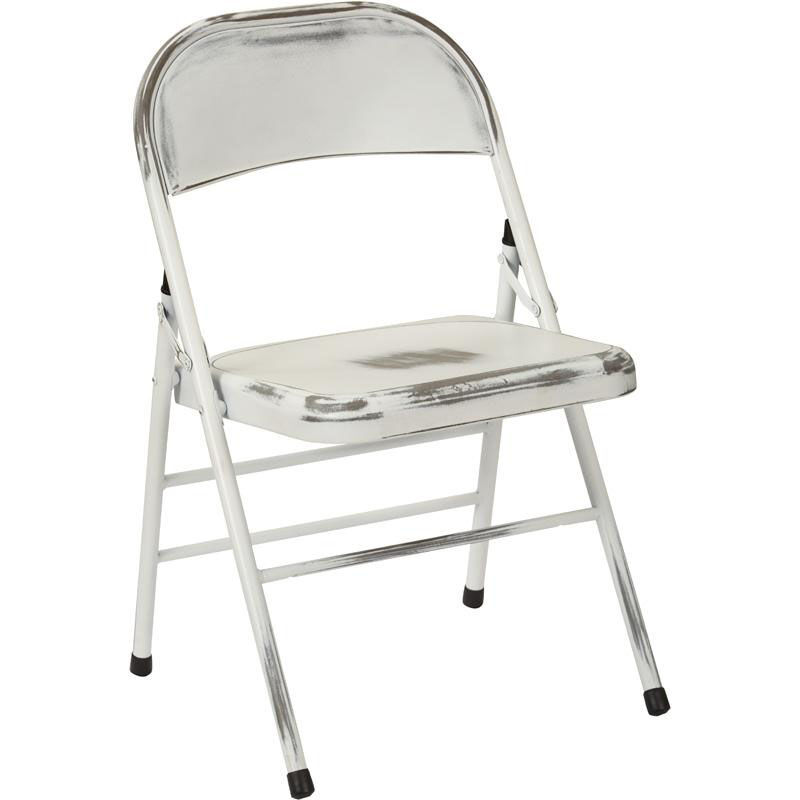 ... Our OSP Designs Bristow Distressed Steel Folding Chair - Set of 4 - Antique White is ...  sc 1 st  Folding Chairs 4 Less & Set of 4 White Folding Chair BRW831A4-AW | FoldingChairs4Less.com