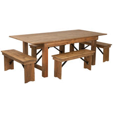 HERCULES Series 7' x 40'' Antique Rustic Folding Farm Table and Four Bench Set