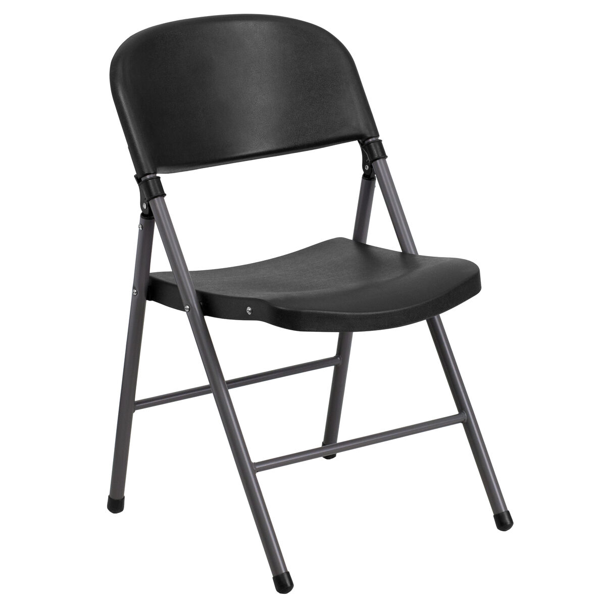 Black Plastic Folding Chair DAD-YCD-50-GG | FoldingChairs4Less.com