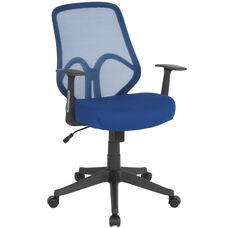 Salerno Series High Back Navy Mesh Chair with Arms