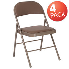 4 Pack Winslow Home Beige Vinyl Padded Metal Event Folding Chair