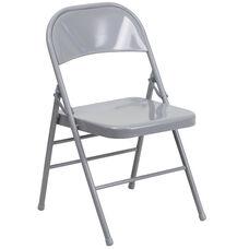 HERCULES Series Triple Braced & Double Hinged Gray Metal Folding Chair