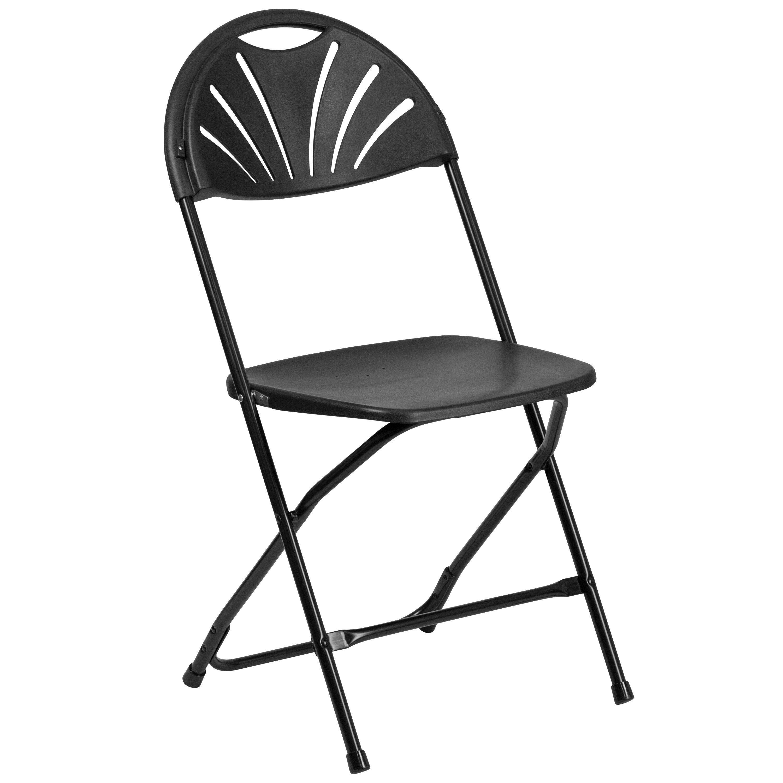 Capacity Black Plastic Fan Back Folding Chair