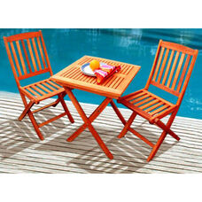 Malibu 3 Piece Outdoor Wood Folding Bistro Set with Table and 2 Folding Chairs