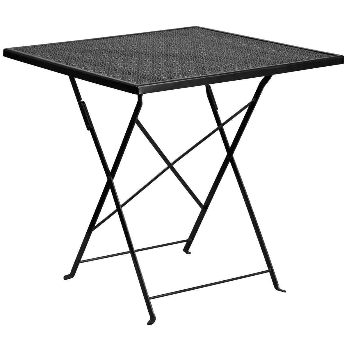 Pleasing Commercial Grade 28 Square Black Indoor Outdoor Steel Folding Patio Table Set With 2 Round Back Chairs Andrewgaddart Wooden Chair Designs For Living Room Andrewgaddartcom