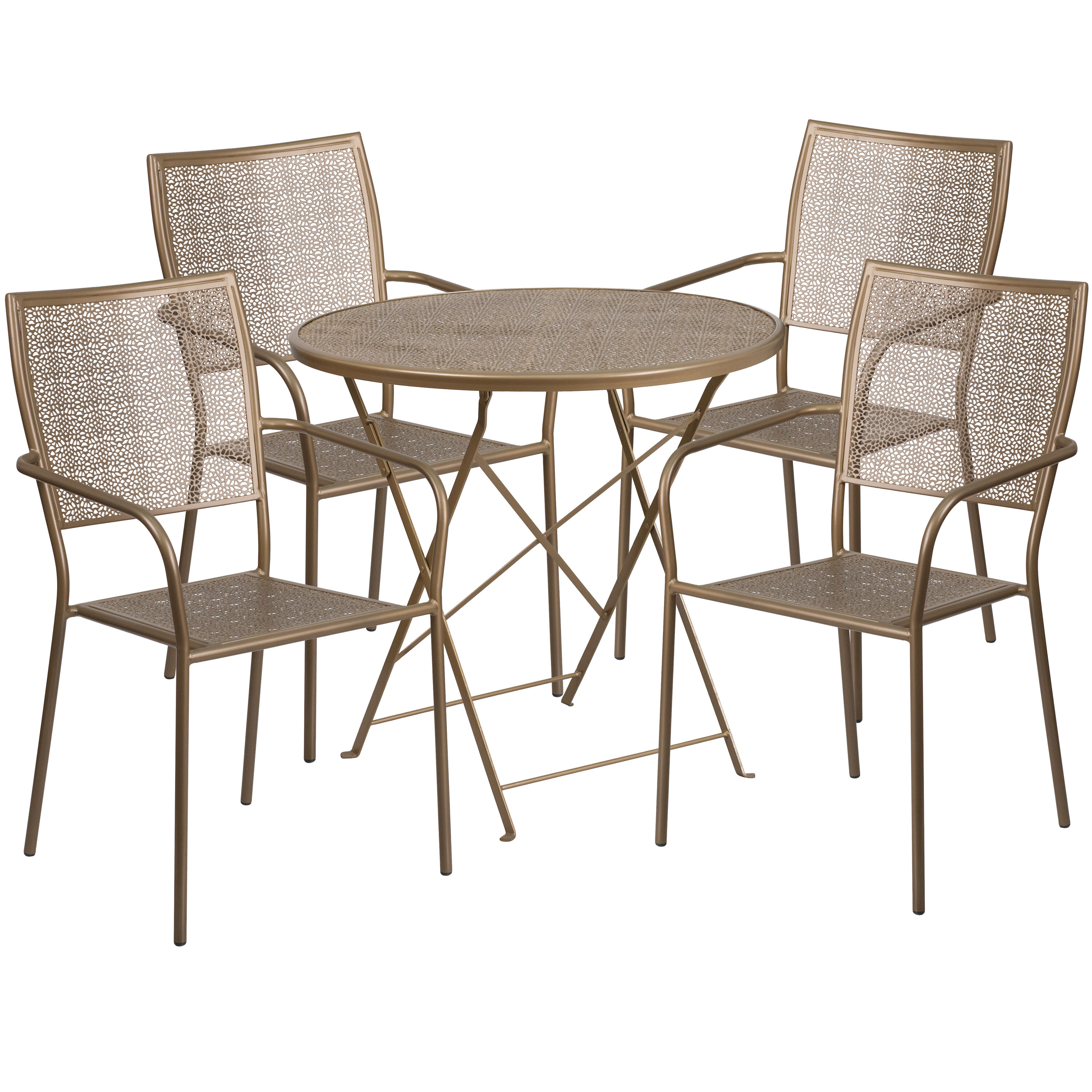... Our 30u0027u0027 Round Gold Indoor Outdoor Steel Folding Patio Table Set With 4