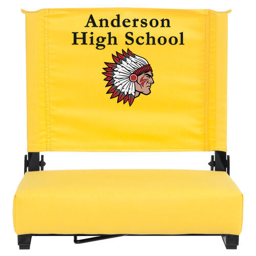 Our Embroidered Grandstand Comfort Seats by Flash with Ultra-Padded Seat in Yellow is on sale now.