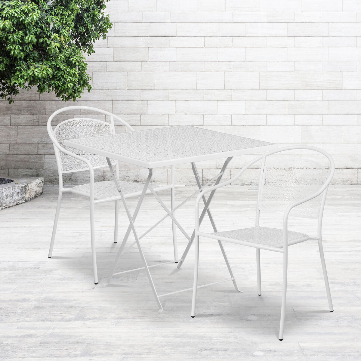 Excellent Commercial Grade 28 Square White Indoor Outdoor Steel Folding Patio Table Set With 2 Round Back Chairs Pdpeps Interior Chair Design Pdpepsorg