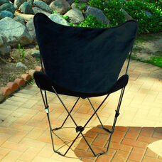 Folding Butterfly Chair with Black Steel Frame and Cotton Cover - Ebony