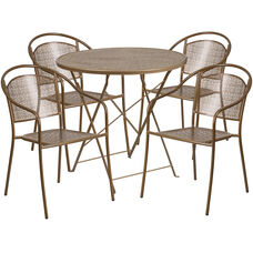 "Commercial Grade 30"" Round Gold Indoor-Outdoor Steel Folding Patio Table Set with 4 Round Back Chairs"