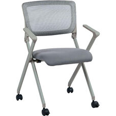 Work Smart Nesting Folding Chair with Screen Back and Padded Seat - Set of 2 - Grey