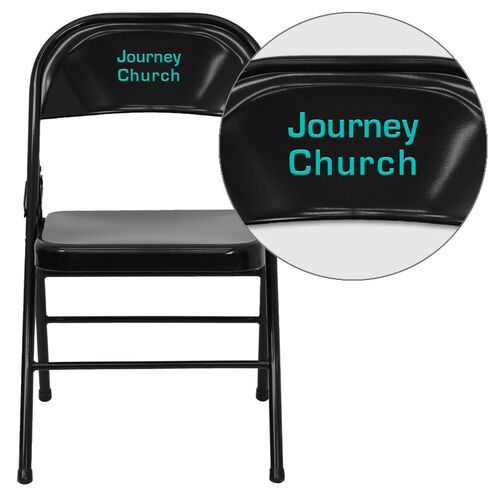 Our Personalized HERCULES Series Triple Braced & Double Hinged Black Metal Folding Chair is on sale now.