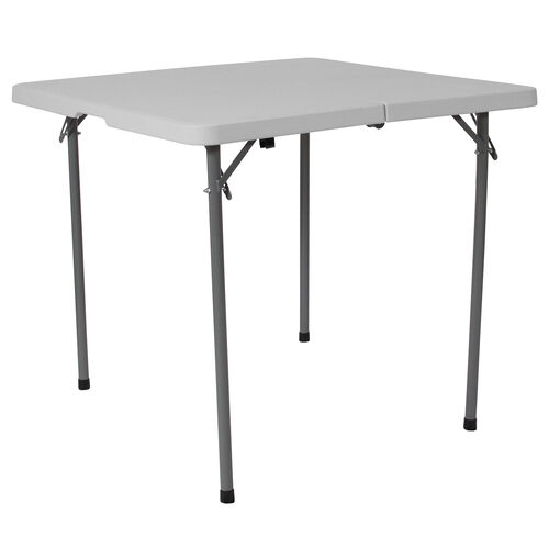 Our 3-Foot Square Bi-Fold Granite White Plastic Folding Table with Carrying Handle is on sale now.