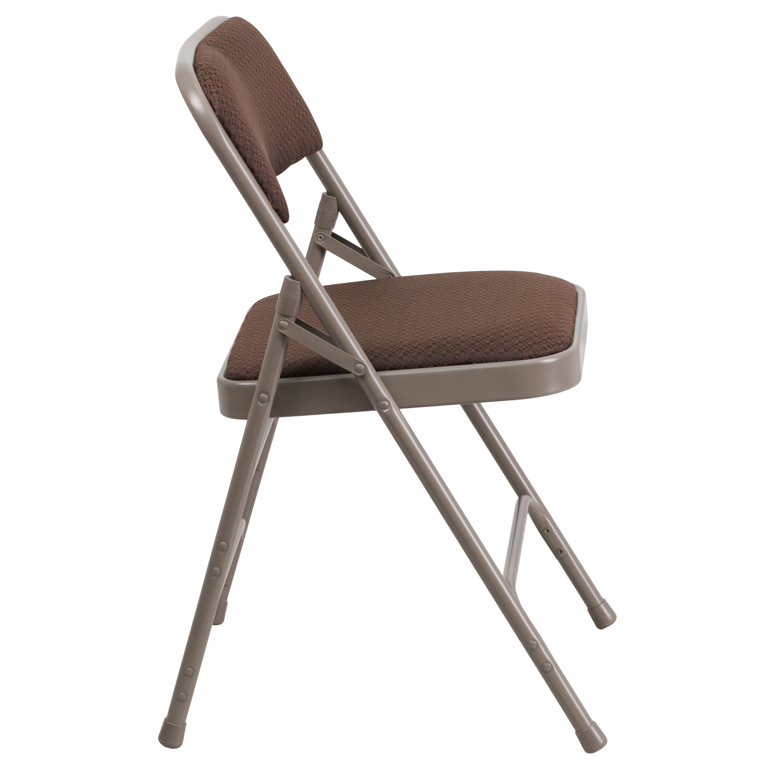 ... Our HERCULES Series Curved Triple Braced u0026 Double-Hinged Brown Patterned Fabric Metal Folding Chair ...  sc 1 st  Folding Chairs 4 Less & Brown Fabric Metal Chair AW-MC309AF-BRN-GG | FoldingChairs4Less.com