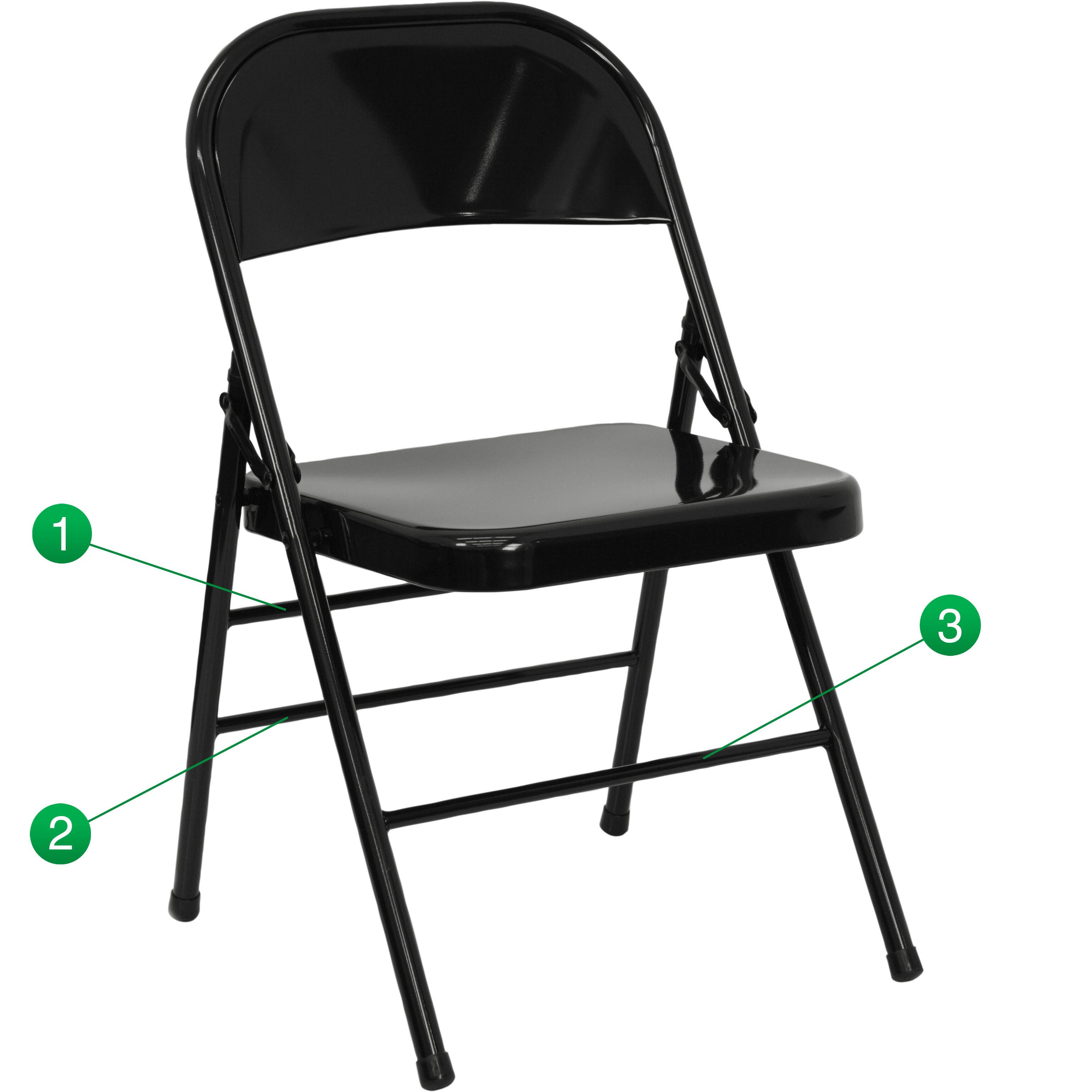 Delicieux HERCULES Series Triple Braced U0026 Double Hinged Black Metal Folding Chair