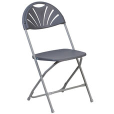 HERCULES Series 800 lb. Capacity Charcoal Plastic Fan Back Folding Chair