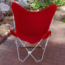 Folding Butterfly Chair with White Steel Frame and Cotton Cover - Red