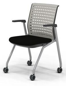 Thesis™ Static Back Arm Chair with Fabric Seat - Set of 2 - Black