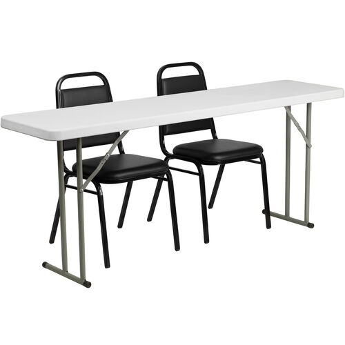 Our 6-Foot Plastic Folding Training Table Set with 2 Trapezoidal Back Stack Chairs is on sale now.