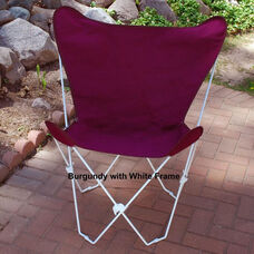 Folding Butterfly Chair with White Steel Frame and Cotton Cover - Burgundy