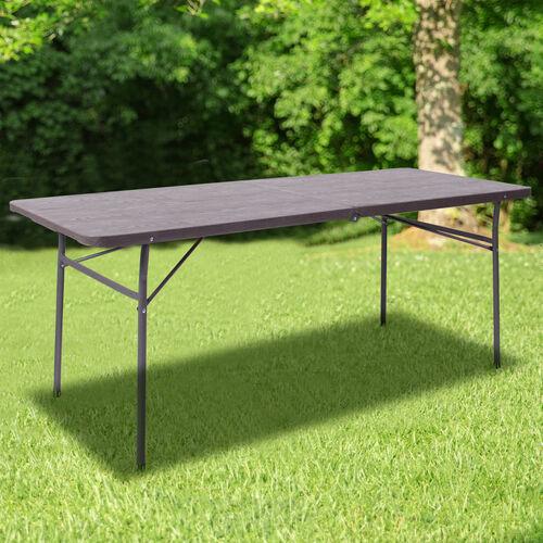 6-Foot Bi-Fold Brown Wood Grain Plastic Folding Table with Carrying Handle