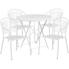 "Commercial Grade 30"" Round White Indoor-Outdoor Steel Folding Patio Table Set with 4 Round Back Chairs"