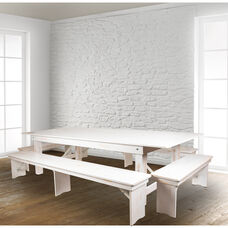 "HERCULES Series 9' x 40"" Antique Rustic White Folding Farm Table and Four Bench Set"