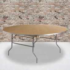 6-Foot Round HEAVY DUTY Birchwood Folding Banquet Table with METAL Edges