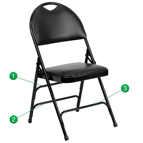 Our HERCULES Series Ultra-Premium Triple Braced Black Vinyl Metal Folding Chair with Easy-Carry Handle is on sale now.