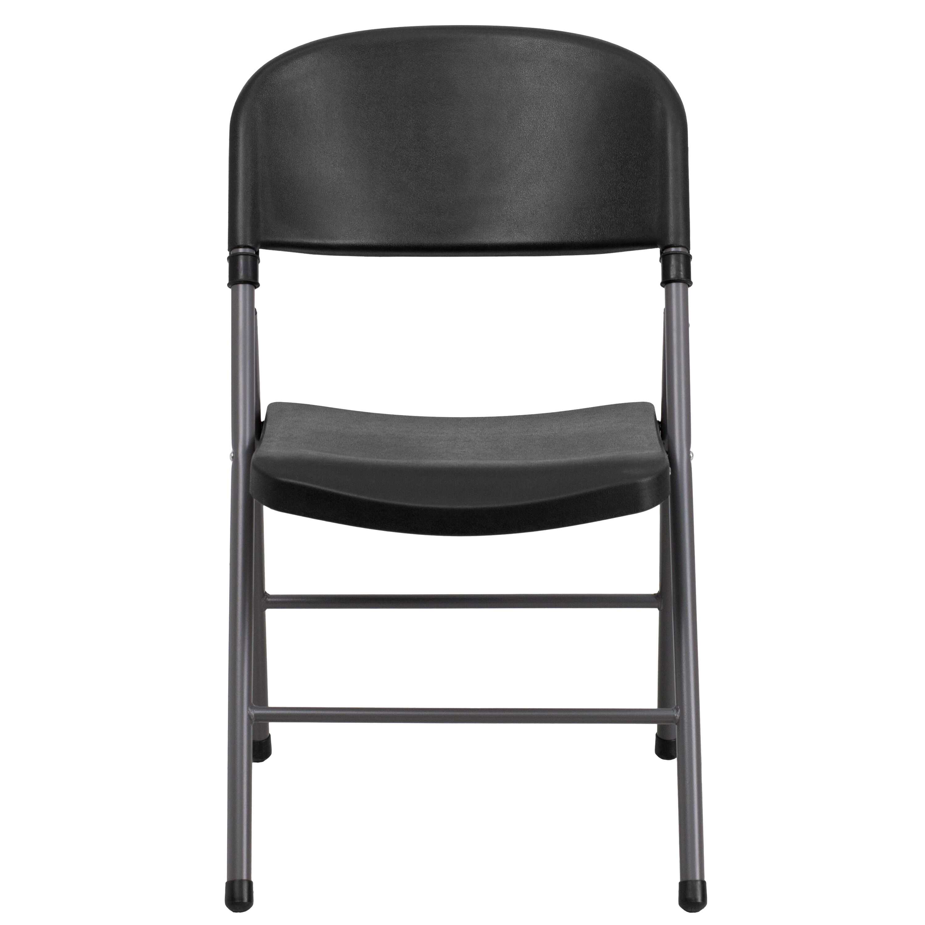 Capacity Black Plastic Folding Chair With Charcoal Frame Is On