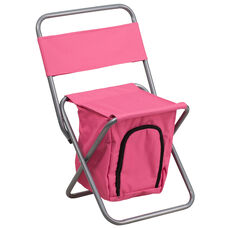 Folding Camping Chair with Insulated Storage in Pink