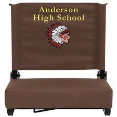 Personalized Grandstand Comfort Seats by Flash - 500 lb. Rated Stadium Chair with Handle & Ultra-Padded Seat, Brown