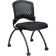 Pro-Line II Deluxe Armless Folding Chair with Plastic Back and Padded Seat - Set of 2 - Black