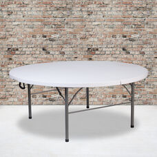 5.89-Foot Round Bi-Fold Granite White Plastic Banquet and Event Folding Table with Carrying Handle